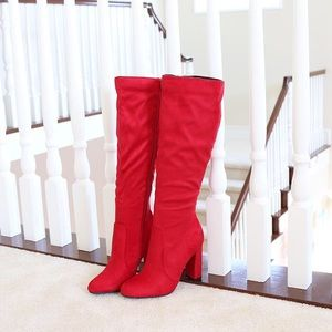 Sz 7.5 suga red vegan suede knee high boots
